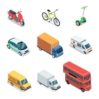 Elementi 3d isometrici di trasporto di città moderna