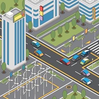 Vista della città moderna con auto in movimento, generatori eolici e illustrazione di edifici alti