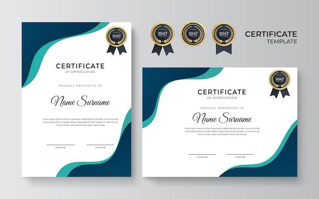 Modello di certificato verde blu moderno pulito dan semplice su priorità bassa bianca. modello di certificato di successo con distintivo e bordo dorati
