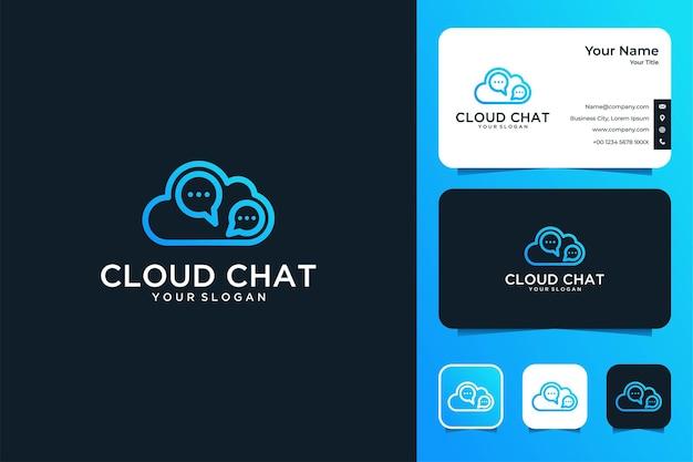 Design moderno del logo della chat cloud e biglietto da visita