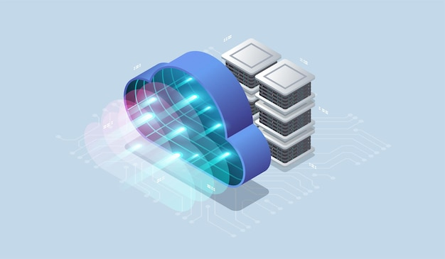 Moderna tecnologia cloud e concetto di rete.