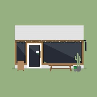Caffetteria moderna o vista frontale del caffè.