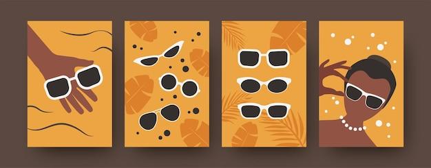 Collezione moderna di poster artistici con occhiali da sole. set colorato di occhiali da sole diversi isolati su sfondo arancione.
