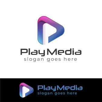 Loghi a colori moderni di play media con la lettera p.