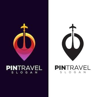 Logo di viaggio pin colore moderno, design del logo posizione di viaggio Vettore Premium