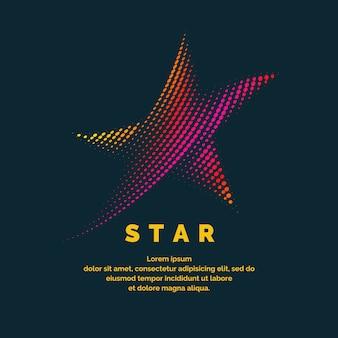 Stella moderna con logo colorato in stile futuristico. illustrazione vettoriale su uno sfondo scuro per la pubblicità