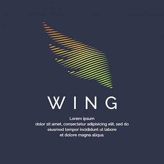 Moderna ala colorata in uno stile futuristico. illustrazione vettoriale su uno sfondo scuro per la pubblicità