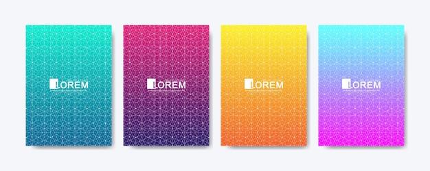 Le linee di gradiente astratte colorate moderne modellano la progettazione della copertina del fondo