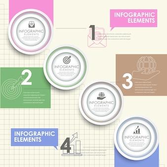 Elementi infographic di stile moderno dell'autoadesivo della carta del cerchio colorato