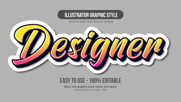 Moderno effetto di testo calligrafico modificabile colorato
