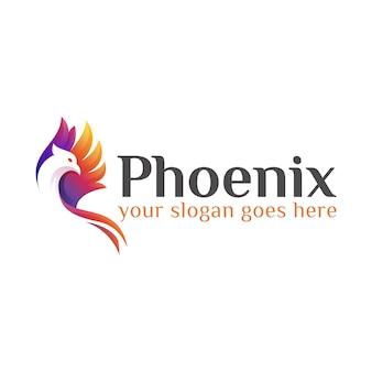 Modello di progettazione di logo moderno colorato fly phoenix o aquila