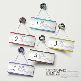 Elementi infografici moderni di carte appese colorate sul muro