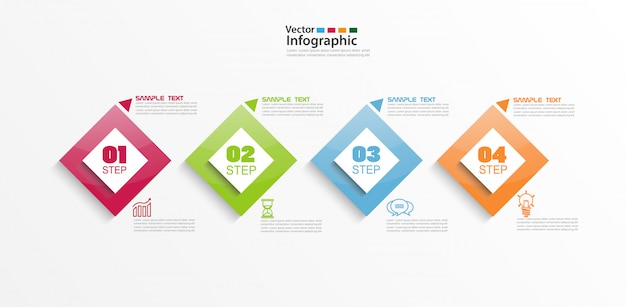 Elementi infographic colorati moderni con quattro passaggi e quadrati colorati