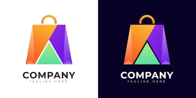 Modello moderno di progettazione del logo dello shopping colorato