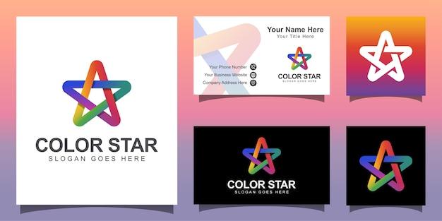 Logo moderno stella colorato, logo star media con modello di progettazione biglietto da visita