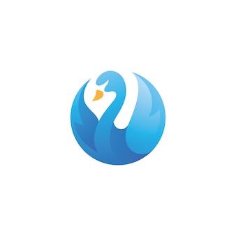 Design moderno del logo dell'icona dell'uccello delle oche del cigno colorato moderno