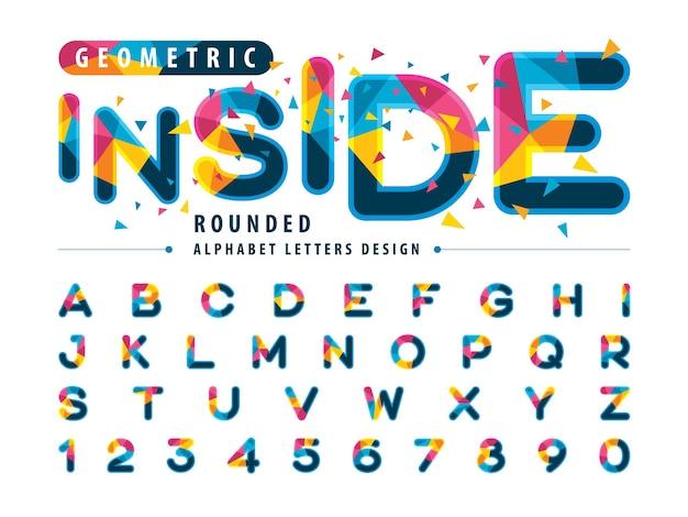 Set di lettere dell'alfabeto in stile grassetto arrotondato con caratteri triangolari colorati moderni