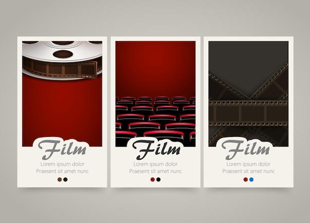 Striscioni colorati moderni del cinema verticale.
