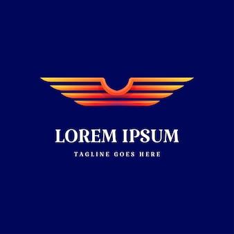 Vettore colorato moderno di progettazione di logo dell'ala