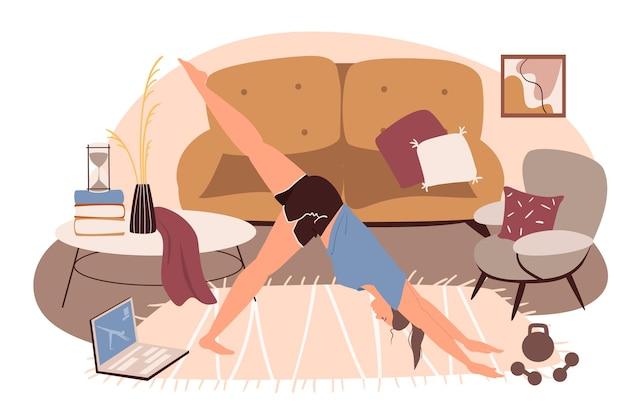 Interni moderni e confortevoli del concetto di web del soggiorno. donna che fa yoga alla lezione online in camera con divano, poltrone, arredamento