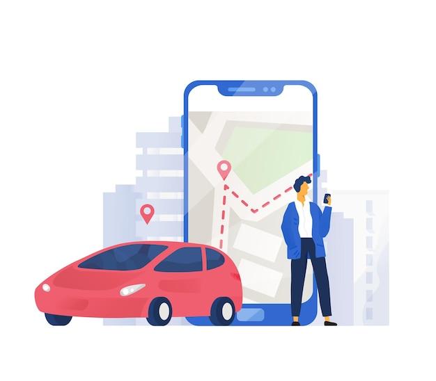 Composizione moderna con automobile e personaggio maschile in piedi accanto a un telefono cellulare gigante con mappa della città sullo schermo