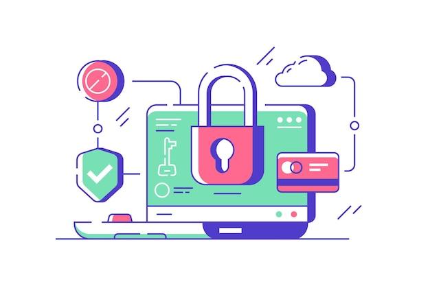 Computer moderno utilizzando un'applicazione con programma di protezione dei dati