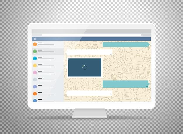 Computer moderno con applicazione di messaggistica sullo schermo. mockup fotorealistico isolato su trasparente. modello per un contenuto