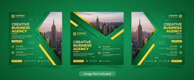 Design moderno del modello di post sui social media dell'agenzia di business digitale creativo aziendale moderno
