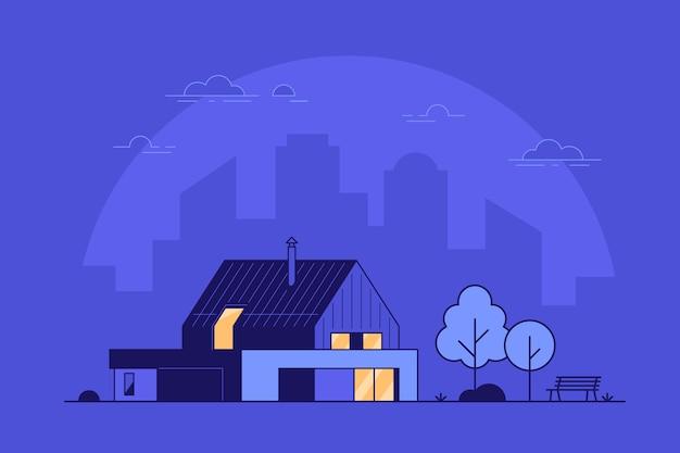 Illustrazione moderna dell'esterno della casa del cottage