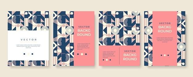 Design moderno del modello di copertina con texture di sfondo geometrico astratto, stile memphis