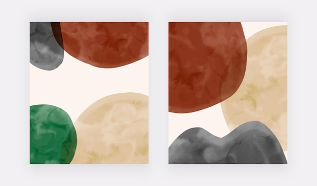 Copertine moderne con forme acquerellate beige nere e marroni