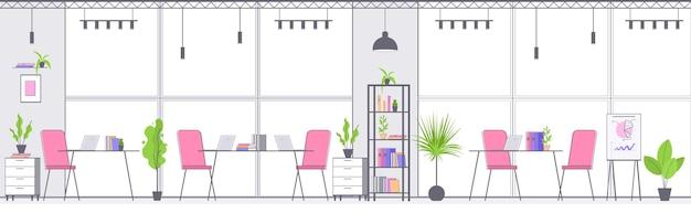 Moderna area di coworking interno vuoto senza persone ufficio