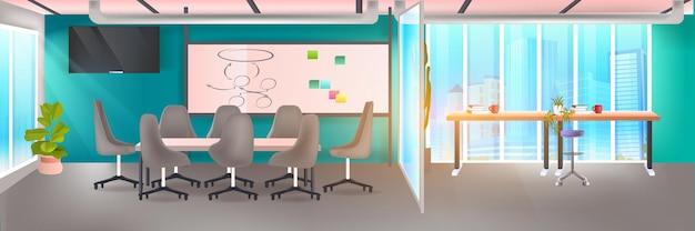 Interno moderno dell'ufficio dell'area di coworking vuoto nessuna stanza dell'armadio open space con mobili