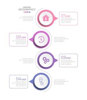 Modello di infografica creativa moderna con 4 passaggi