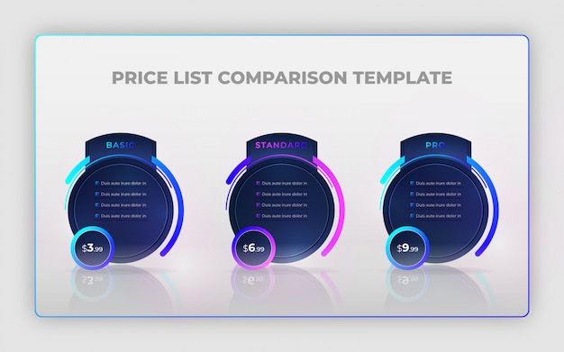Modello di progettazione moderna di confronto prezzi listino creativo o elementi di design infografico