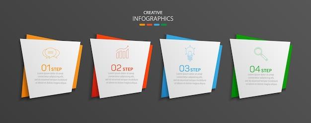 Modello di infografica vettoriale creativo moderno con 4 passaggi