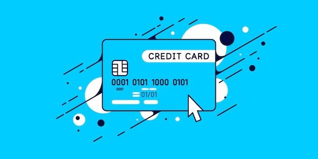 Illustrazione moderna della carta di credito su fondo blu