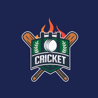 Illustrazione moderna di logo del distintivo del cricket