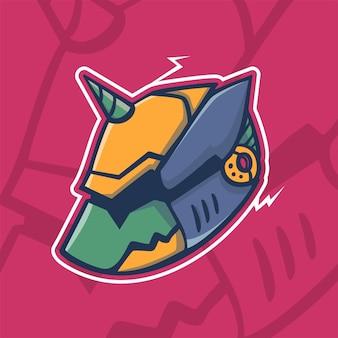Moderno logo mascotte cyborg cane robotico per essere l'icona principale modello di progettazione cane mecha