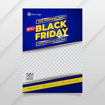 Modello di volantino del black friday dal design moderno con colore blu