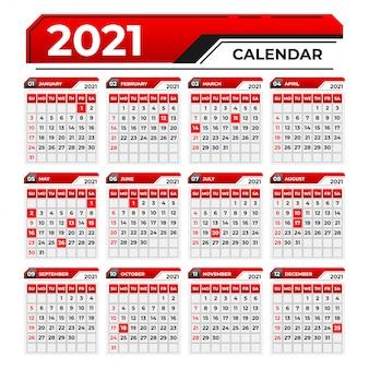 Calendario di design moderno in rosso e nero