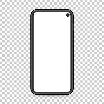 Telefono cellulare dal design moderno con schermo vuoto su sfondo trasparente.