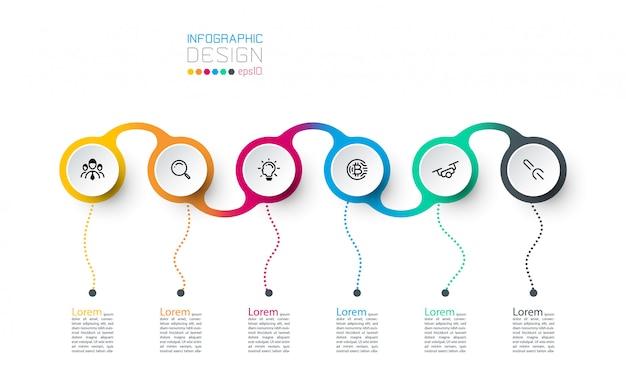 Uso del modello di design moderno per infografica, 7 passaggi.