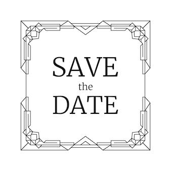 Design moderno per invito a nozze, cornice geometrica linea retrò. art deco in bianco e nero. vintage salva il modello di rettangolo quadrato della data.