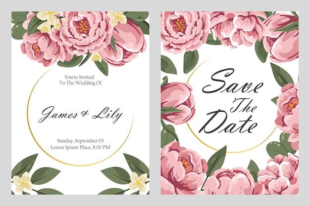 Partecipazioni di nozze dal design moderno. set di biglietti d'invito con disegno floreale. cartoline con fiori delicati. illustrazione vettoriale