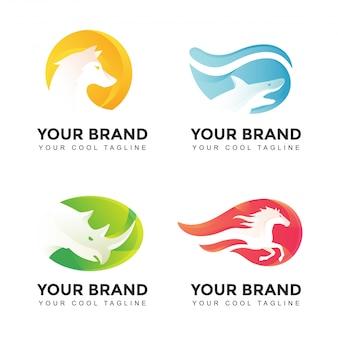 Set di logo di animali selvatici sfumati di dettaglio moderno