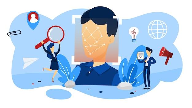 Dispositivo moderno con un concetto di riconoscimento facciale. sistema di scanner facciale mobile per l'identificazione biometrica. idea di tecnologia moderna e progresso. illustrazione
