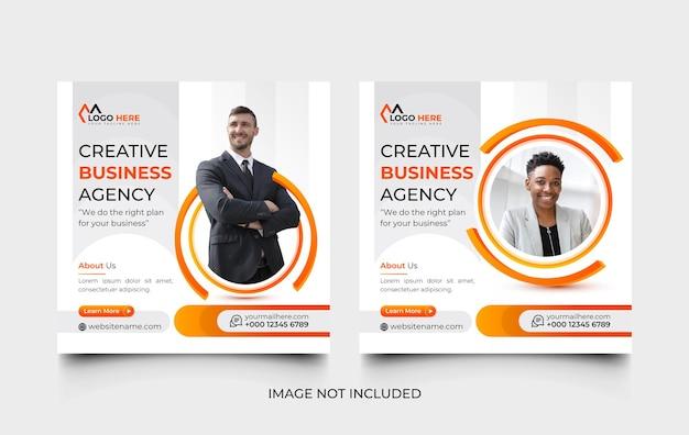 Modello di post sui social media dell'agenzia di marketing digitale moderna e set di banner web