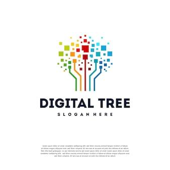 Il logo dell'albero digitale moderno progetta il vettore di concetto, il vettore di simbolo del logo dell'albero tecnologico Vettore Premium