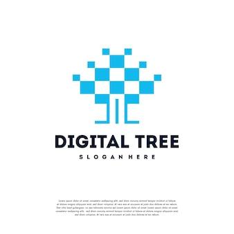Il logo dell'albero digitale moderno progetta il vettore di concetto, il vettore di simbolo del logo dell'albero tecnologico